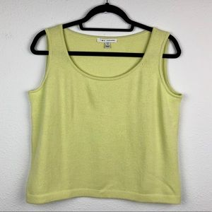 ST JOHN Neon Yellow Green Wool Tank Top